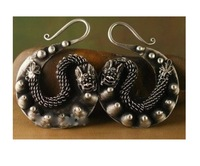 Ethnic jewelry TRIBAL MIAO silver EARRINGS HAND shipping