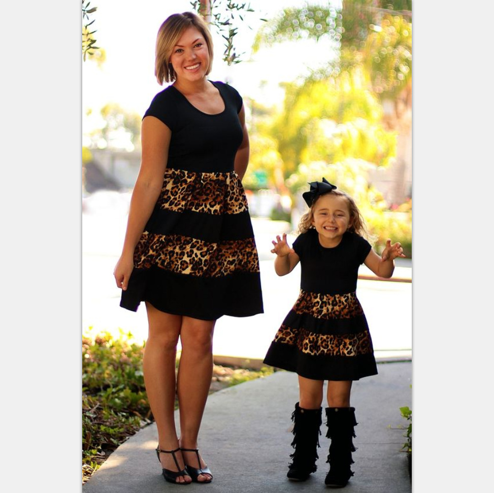2017 family matching mother daughter dresses clothes blakc ...