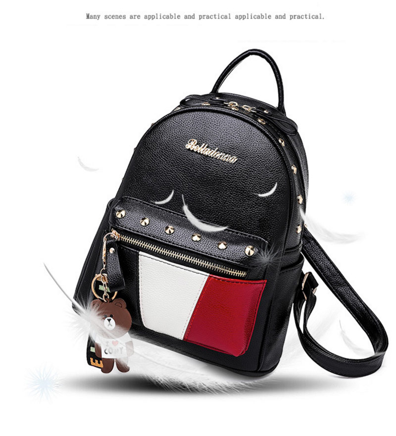 2019 Women Preppy Style Panelled Color Print Backpack Black Studded PU Faux Leather School Bag Small Fashion Rivet Travel Pack (28)