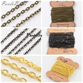 Hot 3x2.2x0.6mm HOT Iron Cross Chains Jewelry Accessories Making DIY Cable Chains Golden Black  Silver Antique Bronze Color