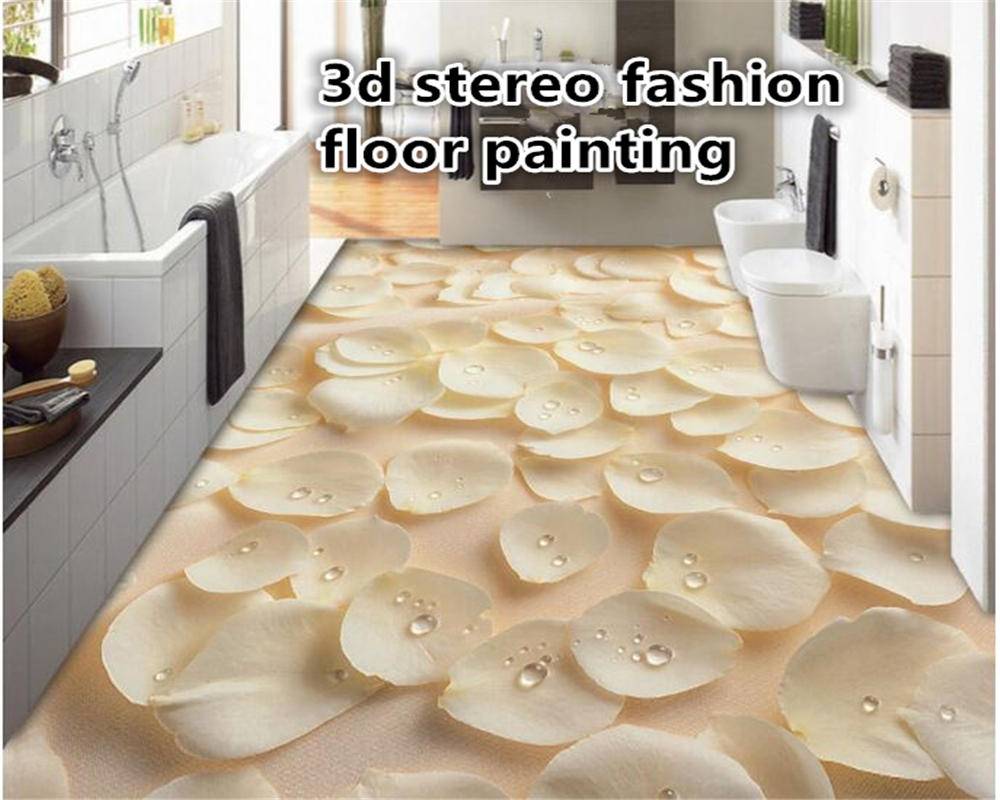 beibehang 3d flooring papel de parede 3D fashion picture rose petals dew drawing floor brick tile wallpaper for walls 3 d tapety beibehang walking cloud 3d floor tile tile customization large fresco pvc thick wear resistant floor cover papel de parede