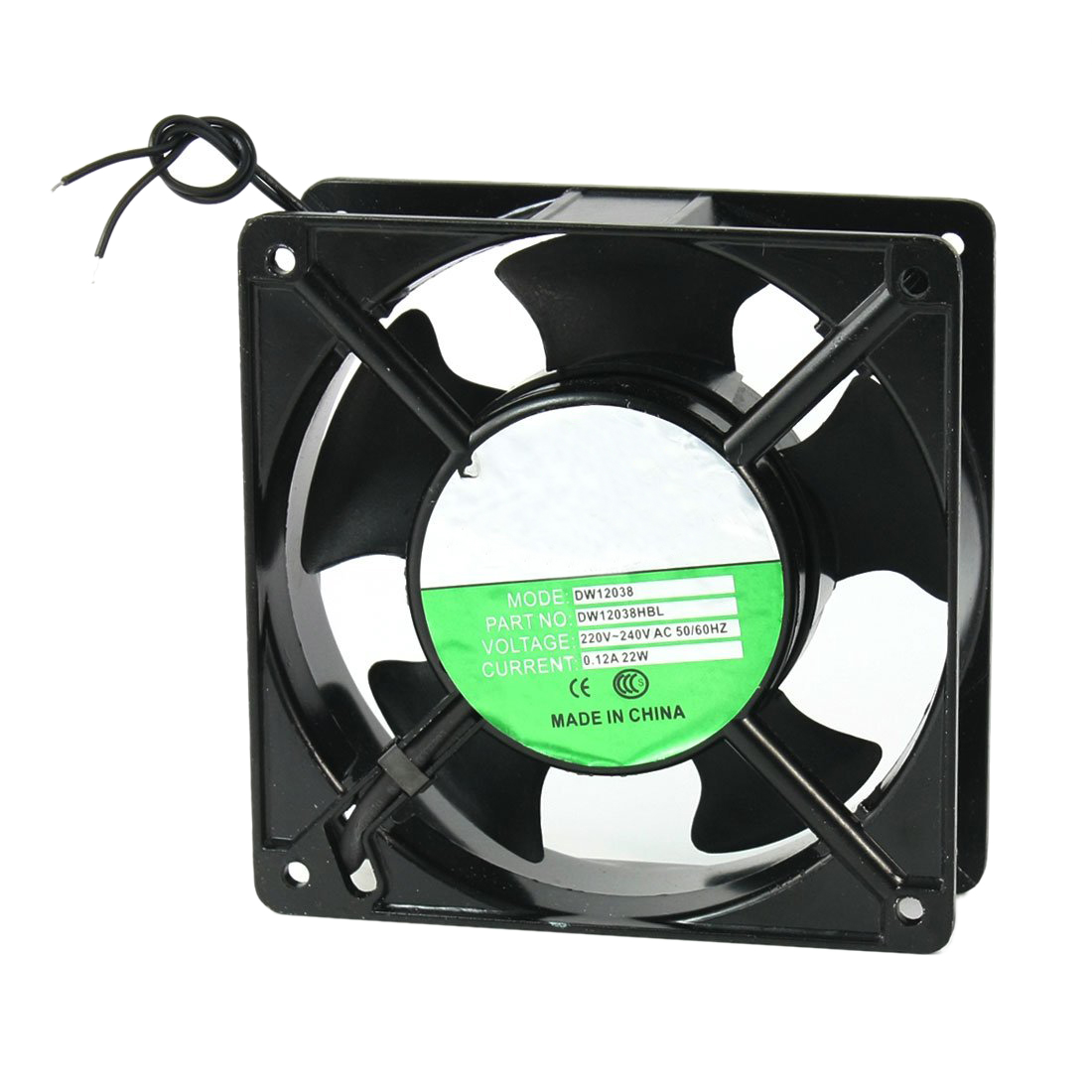 120x120x38mm 5 Blades Metal Frame Axial Flow Cooling Fan AC 220/240V 0.12A 22W