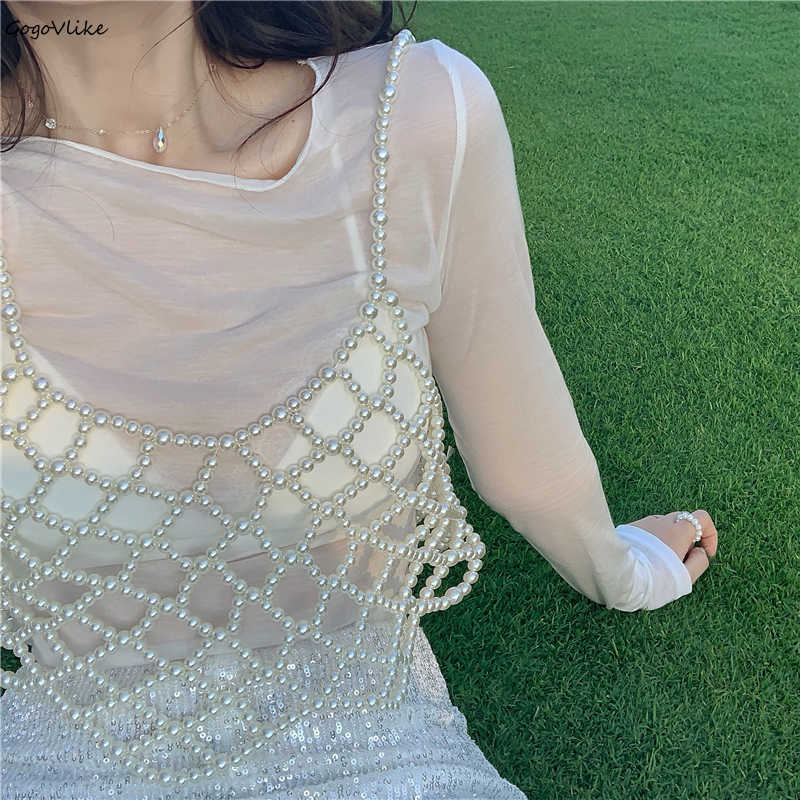 Handmade Beige Pearls Vest Women 2019 New Elegant Beading Vests Camis Hollow Out Outwear Chic Paghetti Strap Tops LT813S50