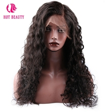 Hot Beauty Hair Brazilian Water Wave Lace Front Human Hair Wigs With Baby Hair 250% Density Remy Human Hair Wig Bleached Knots
