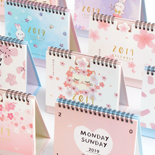 JIANWU 1pc Creative Sakura fruit paper 2018 2019 schedule desk calendar weekly planner memo school office stationery
