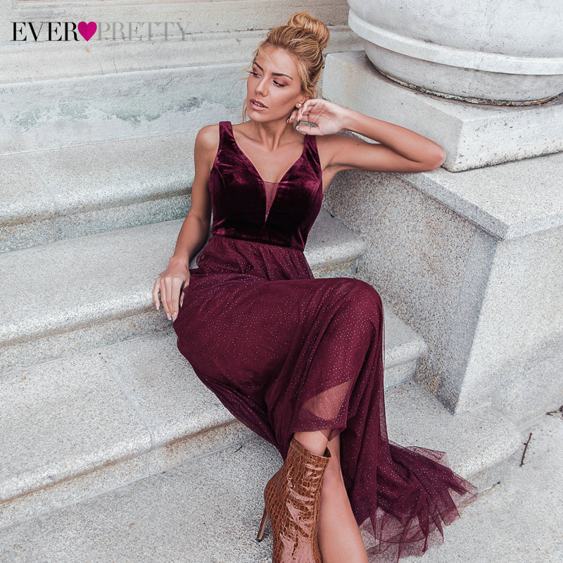 Prom Dresses Long 2020 Ever Pretty EP07849 New Arrival Burgundy Sexy Formal Party Gowns Elegant Sparkle Tulle Wedding Party Gown
