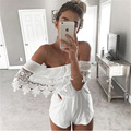 2016 New Siamese Leggings Combishort Femme Summer White Short Jumpsuit Off Shoulder Playsuit Rompers Womens Jumpsuit B0002