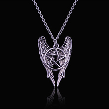 2017 new hot Antique Silver Pentagram Pentacle Angel Wings Pendant Supernatural Necklace Women Jewelry Holiday Gifts