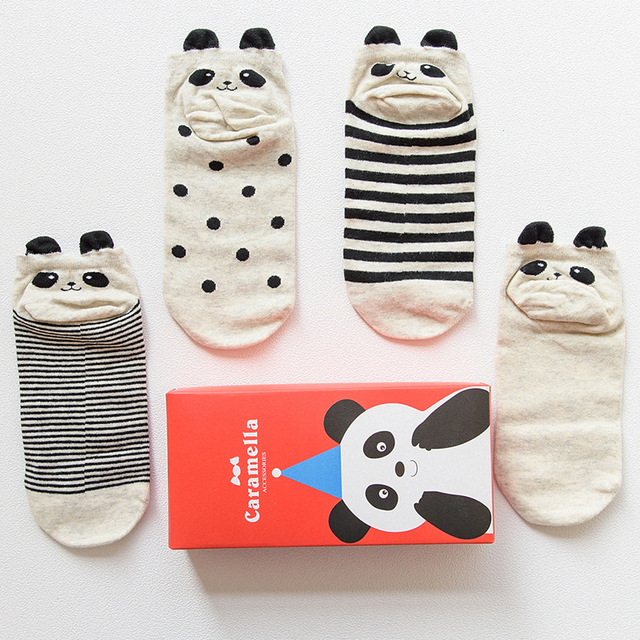 4 Pairs 3d Panda Patterns Cotton Socks
