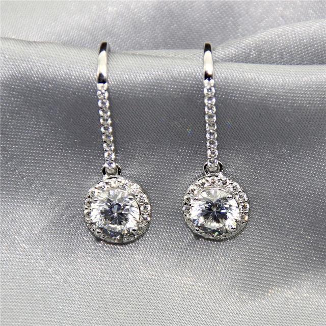 LASAMERO Vintage Dangle Round 1.6CT Center Esdomera Moissanites Drop Earrings 10k White Gold Lab Grown Diamond Hook Earrings