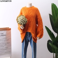 Women's O Neck Sweater Hollow Out Coarse Cable Knit Oversized Sweater Dress Winter Women Warm Baggy Sweater Female