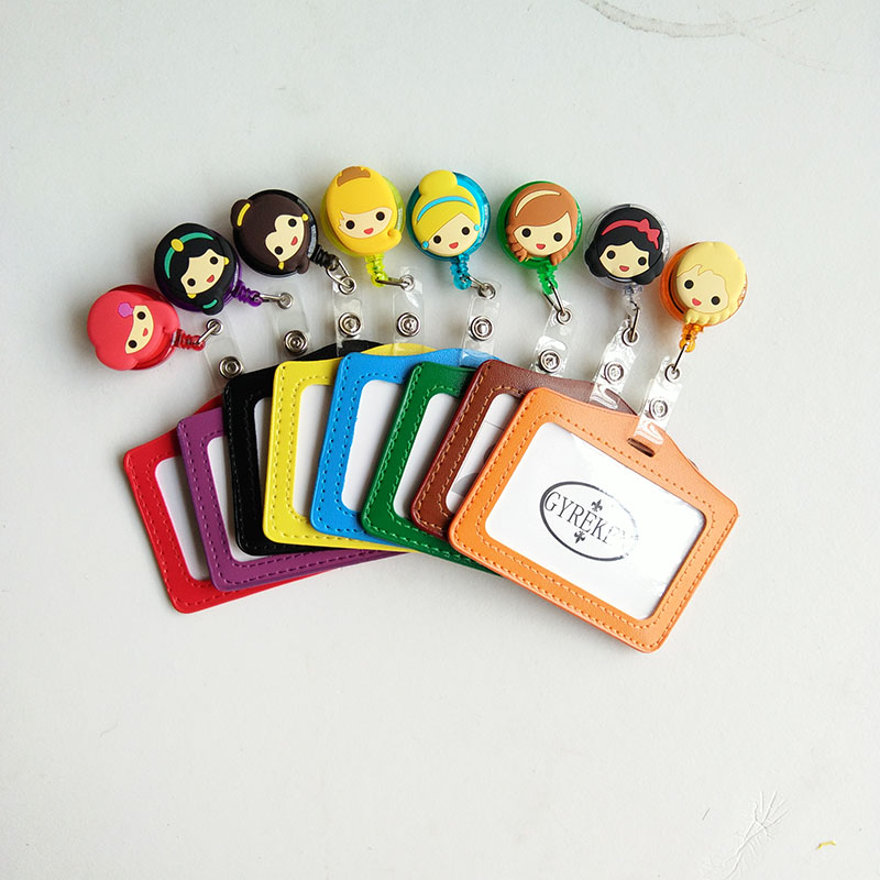 8 Sets Princess Silicone card case holder Bank Credit Card Holders Card Bus ID Holders Identity Badge Cartoon Retractable Reel fhadst no zipper cheap bank credit card holders bus id holders identity red yellow blue badge with retractable reel wholesale
