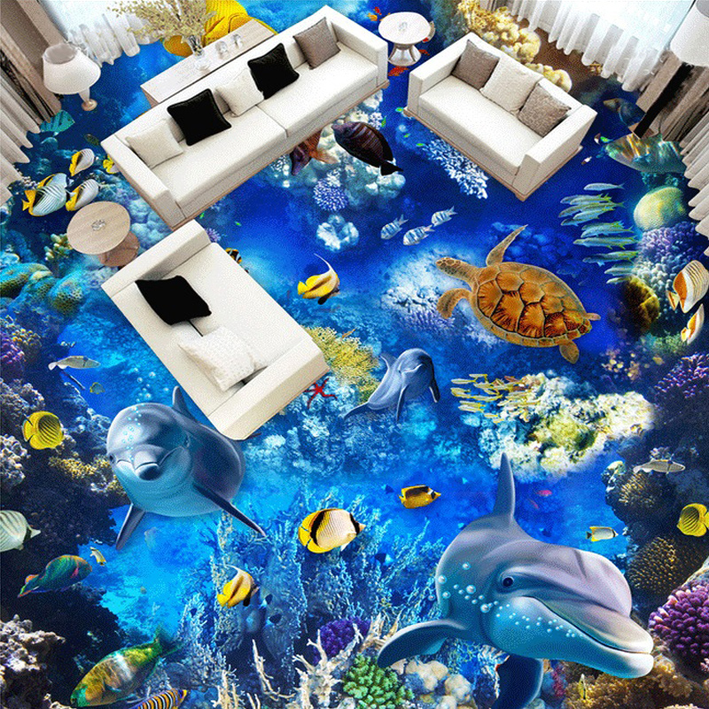 Custom 3D Cartoon Dolphin Animals Wallpaper Murals For