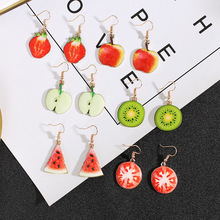 Korean version of alloy fruit earrings for women small fresh watermelon pineapple pendant long drop K07