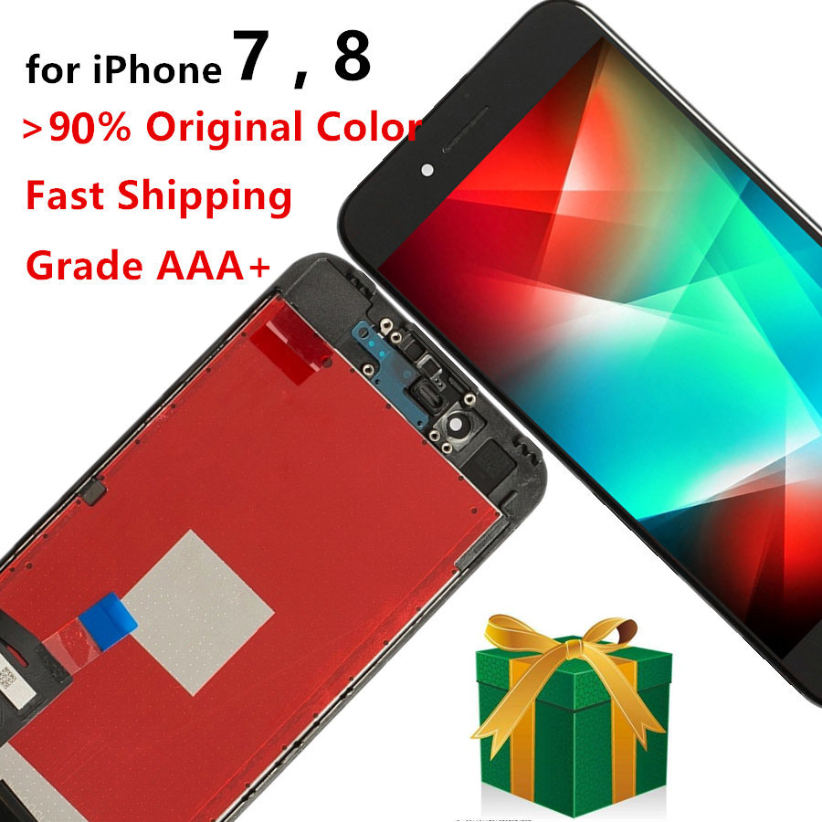Mobile Phone Repair Screen for iPhone 7 8 LCD Display + Touch Digitizer Assembly 3D Touch with Frame, Black White image