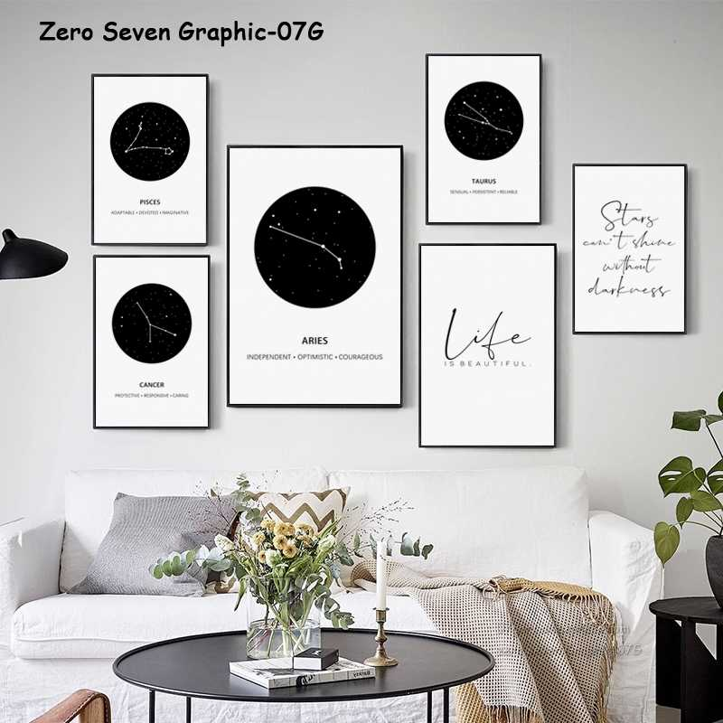 Black And White Zodiac zodiac Constellation Canvas Painting Poster And Print Living Room Wall Art Picture Home Decoration
