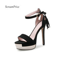 Faux Suede Women Ankle Strap High Heel Sandals Platform Sexy Fashion Fringe Party Shoes For Woman