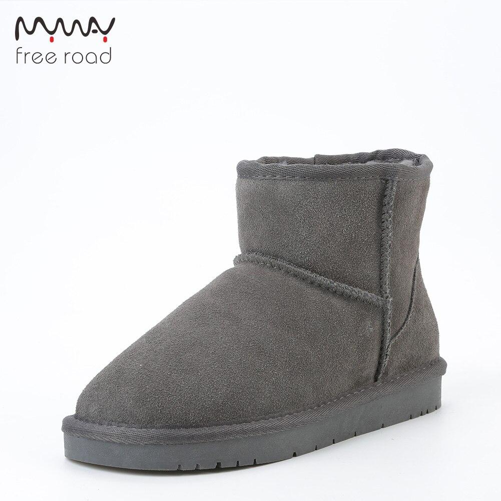 Aus Dem Ausland Importiert Männer Schnee Stiefel Kuh Wildleder Leder Winter Kurze Stiefel Klassische Winter Schuhe Stiefeletten Für Männer Schwarz