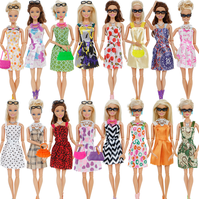 32 Item/Set Doll Accessories=10 Mix Fashion Cute Dress+ 4 Glasses+ 6 Necklaces+2 Handbag+ 10 Shoes For Barbie Doll 1