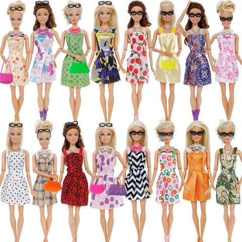 32 Item/Set Doll Accessories=10 Mix Fashion Cute Dress+ 4 Glasses+ 6 Necklaces+2 Handbag+ 10 Shoes Dress Clothes For Barbie Doll Lahore