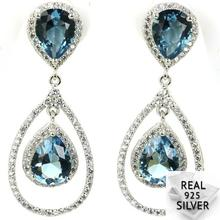 Real 9.7g 925 Solid Sterling Silver Deluxe Top AA+ London Blue Topaz White CZ Earrings 42x17mm