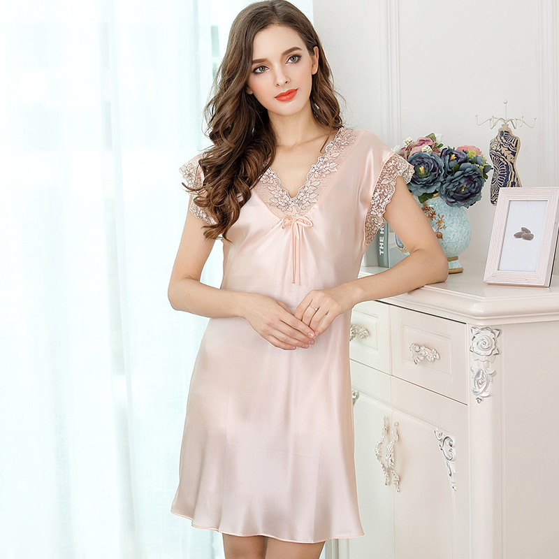 100% Silk Stain Sleep Wear Night Gown Dress Nightwear Sleeping Dress ...