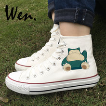 Wen Design Anime Pokemon Snorlax Skateboarding Shoes Mens Womens High Top  Canvas Sneakers Black White Flat 1c1fbdacf