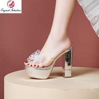 Original Intention Women Sandals Slip On Chunky High Heels Sandals Transparent Black White Silver Shoes Woman Big Size 3 10.5