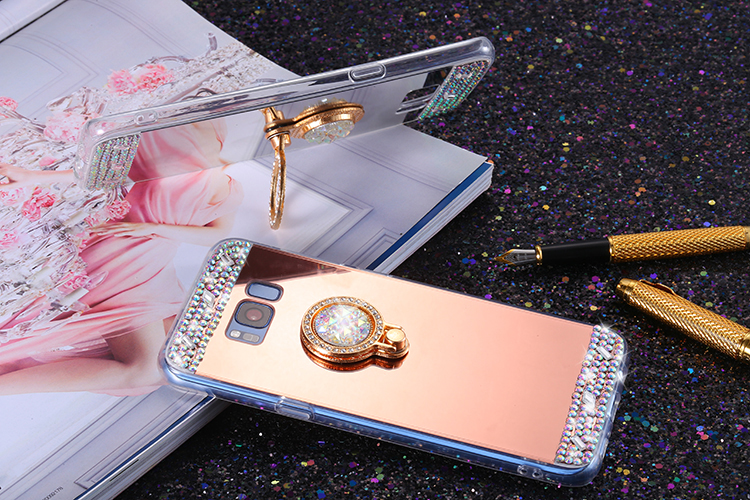 For Samsung Galaxy S9 Case Glitter Bling Diamond Mirror Soft TPU Case With 360 Phone Ring For Samsung Galaxy S10 S9 Plus