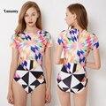 Женский купальный костюм Lunamy  S-2XL купальник с короткими рукавами и цветочным принтом в стиле ретро  2019