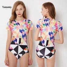 Lunamy S-2XL Short Sleeves Swimwear One Piece Swimsuit Women Sexy Swim Beachwear Retro Print Bodysuit 2019 Floral Bathing Suit