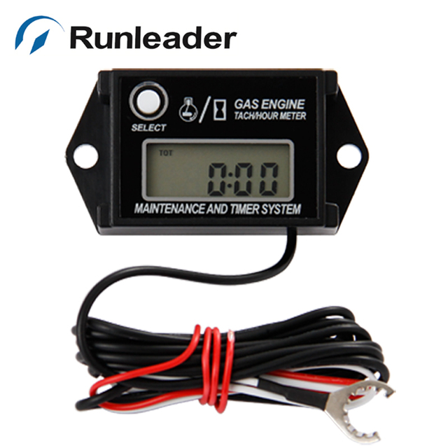Inductive Digital Tach Hour Meter for gas engine motocross outboard marine jet ski engine Snowmobile ATV Generator Motorcycle MX