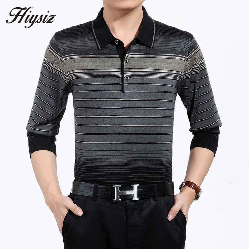 높은 품질 가을 캐시미어 울 스웨터 남자 유명 브랜드 의류 비즈니스 캐주얼 스트라이프 풀 오버 남자 플러스 크기 셔츠 66128