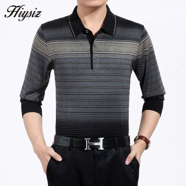 High Quality Autumn Cashmere Wool Sweaters Men Famous Brand Clothing Business Casual Striped Pullover Men Plus Size Shirts 66128