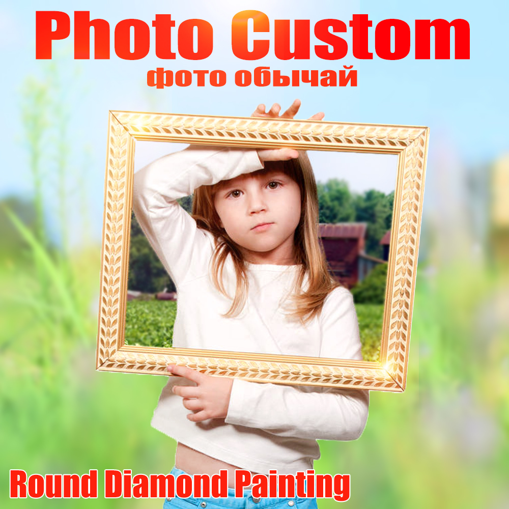 Huacan Photo Custom Diamond Embroidery Full Round Crystal Diamond Painting Cross Stitch Diamond Mosaic Kits Birthday Gift