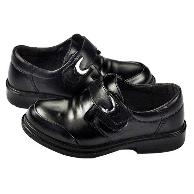 Boys Black Genuine Leather shoes Kids Lederschuhe Rubber sole Oxford Footwear 16 to 23cm Baby Formal shoes