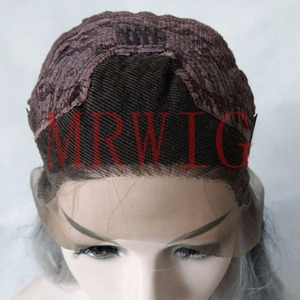 Image 5 - MRWIG Straight Synthetic Lace Front Wig Long Light Blue Hair Heat Resistant Middle Part 150%