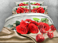 romantic 3d bedding queen size comforters bedspread bed cover sheets set twin full king size woven 500TC red rose flower wedding