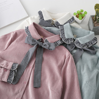 Retro Solid Color Bow Corduroy Preppy Style Shirt Blouse Femae Mori Girl 2018 Spring