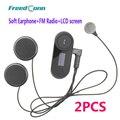 Pantalla LCD + Radio FM! 2 UNIDS BT Interphone Bluetooth Casco de La Motocicleta Intercom Headset para Motocycle + Auricular Suave