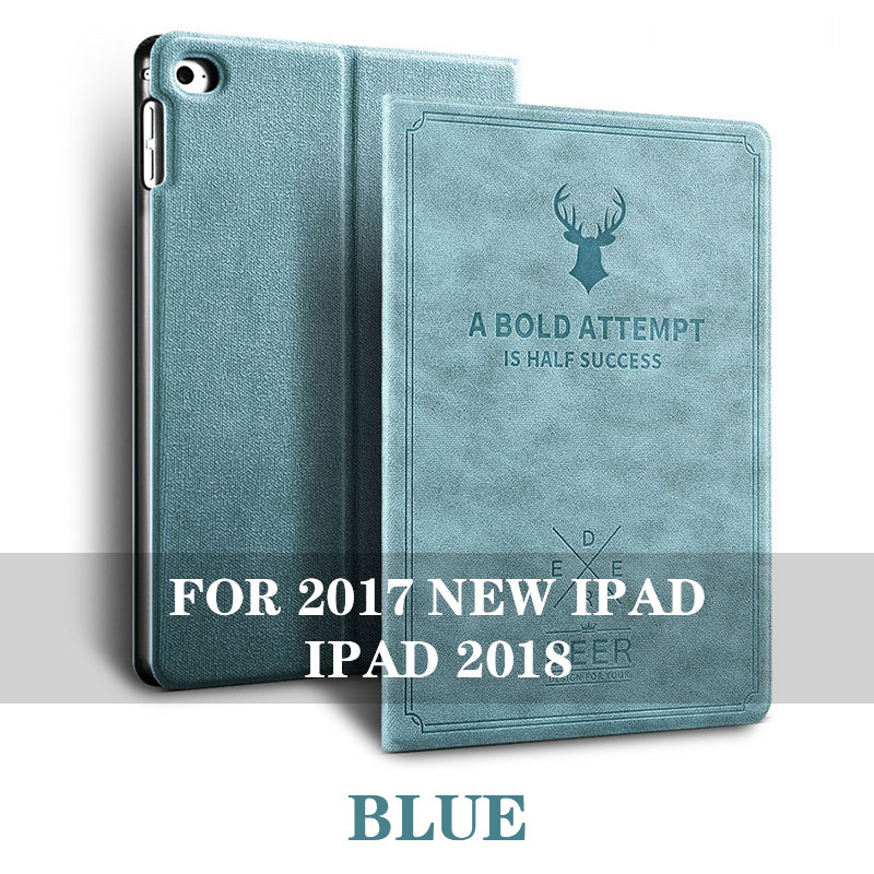 Blue 5 colos iPad 9.7 inch smart case with stand and 3d deer pattern for iPad 2017, 2018