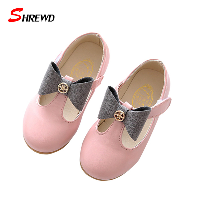 Shoes Children Girls 2017 Spring New Fashion Bow Girl Leather Shoes Solid Color Beautiful Kids Shoes Insole 15.5-17.5cm 9619W