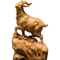 Wood Sheep Carving statue and Goat sculpture little lamb feng shui Home decoration craft figurine Decoration Miniature