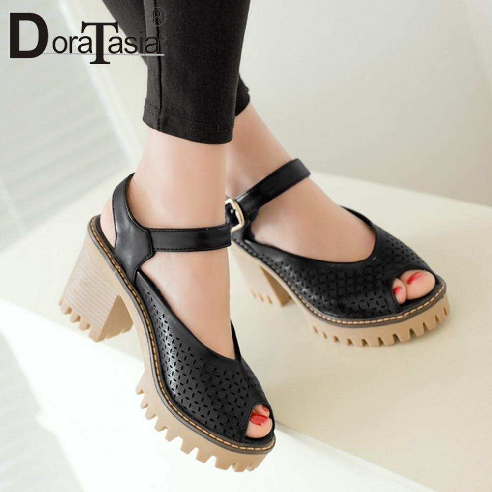 DORATASIA Woman Shoes Women's Summer Pumps High-Heels Female Street 34-43 Fashion Peep-Toe