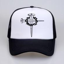 лучшая цена New Brand fashion Men Jesus Christ cross Print Baseball caps Summer outdoor movement Man Women mesh Trucker Cap Ha