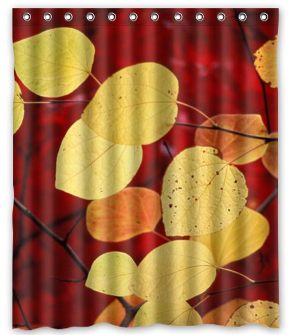 Kundenspezifische Herbst Gold Blatter Duschvorhang 66 X 72 Freies Verschiffen Badezimmer Dekor In
