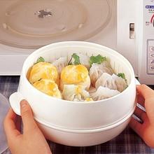 Здоровий білий портативний мікрохвильовий парогенератор з кришкою Пластикові приготування Інструменти Посуд для посуду Ящики для зберігання 20 * 11см безкоштовна доставка