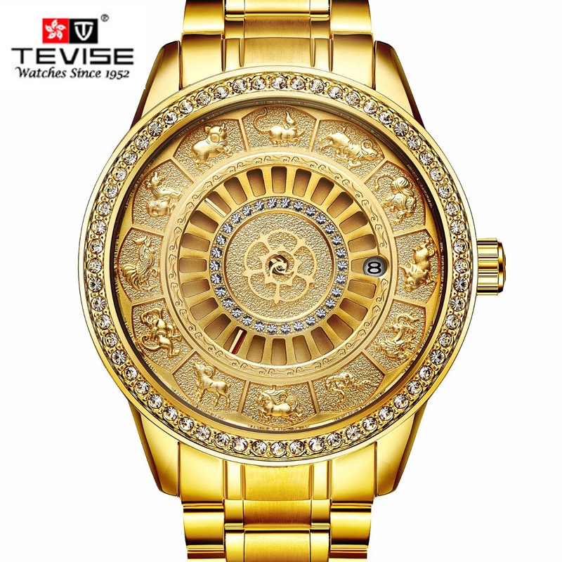 2018 TEVISE Men Automatic Mechanical Watch Skeleto