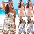 Женщины С Плеча Без Бретелек Playsuit Лето Пляжу Случайный Цветочные Боди Комбинезон Сексуальный Моды Одежды