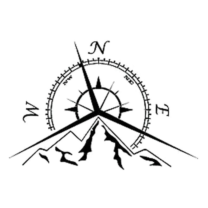 13.7cm*9.4cm NSWE Fashion Mountains Compass Rose Decal Nautical Compass Navigate Car Sticker S6-3534